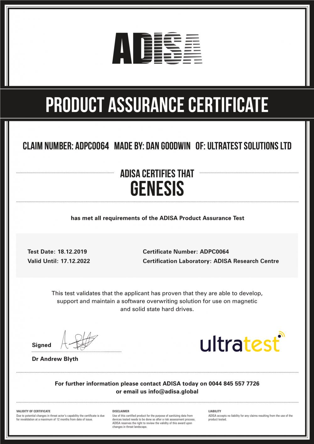ADISA Product Assurance